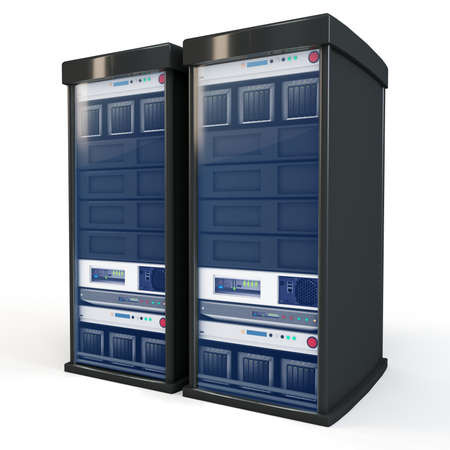 server technology: 3d server rack units isolated on white Stock Photo