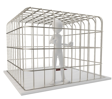 prisoner man: 3d man prisoner in a silver cage isolated on white