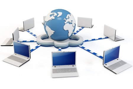 computer network: 3d Cloud computing concept. Client computers communicating with resources located in the global cloud