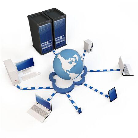 infraestructura: concepto de computaci�n nube 3D. Equipos cliente comunicarse con recursos ubicados en la nube global Foto de archivo