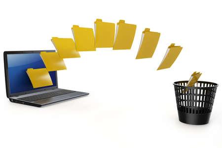 3D Laptop Datenübertragung zu löschen Papierkorb, isoliert auf weiss