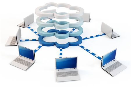 multilayer: 3d Cloud computing concept. Client computers communicating with resources located in the multi-layer cloud Stock Photo