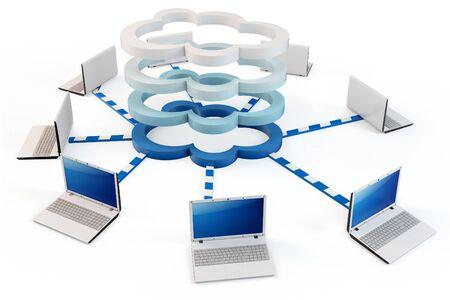 multilayer: concepto de computaci�n nube 3D. Equipos cliente comunicarse con recursos ubicados en la nube de varias capas