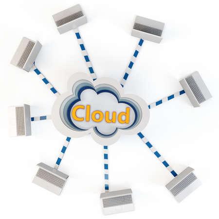 multilayer: concepto de computaci�n nube 3D. Equipos cliente comunicarse con recursos ubicados en la nube multicapa