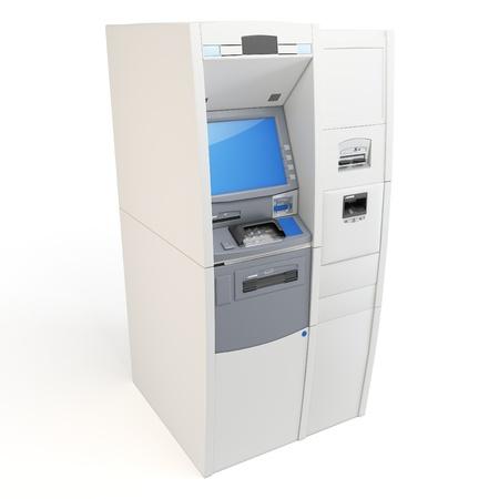 3d gedetailleerde ATM-machine geïsoleerd op wit Stockfoto