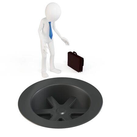 drain: 3d business man with a drain hole isolated on white