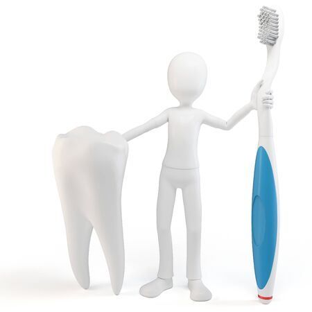 3d man with tooth and tooth brush isolated on white photo
