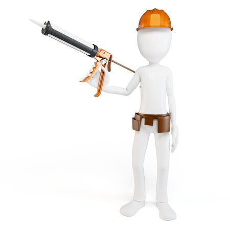 3d man worker with caulk gun isolated on white