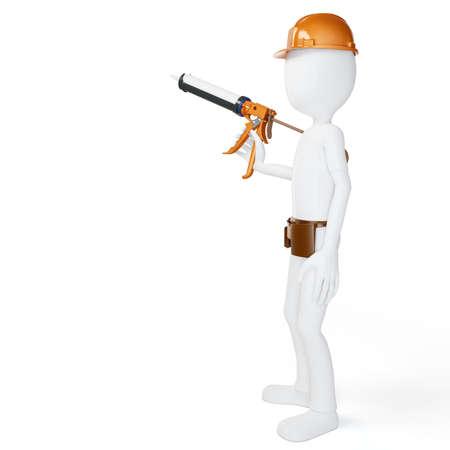 silicone gun: 3d man worker with caulk gun isolated on white