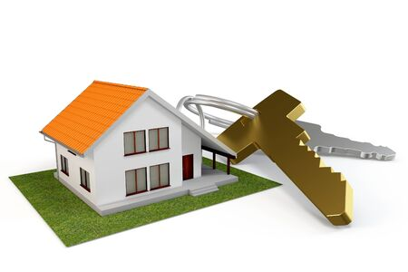 3d house with keys isolated on white photo