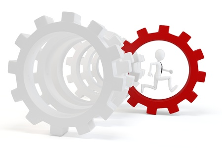 3d man business with red gear isolated on white Stock Photo - 9874338