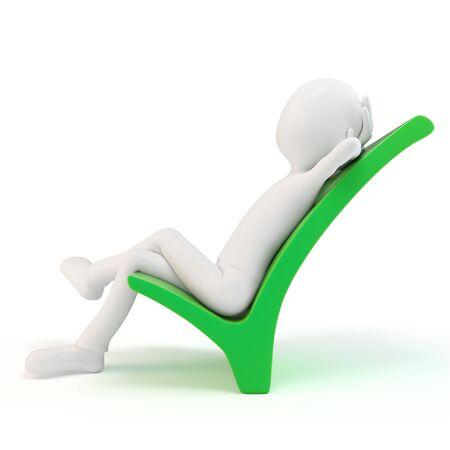homme 3D reposant sur un symbole positif isolé sur fond blanc