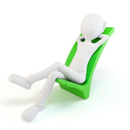 deacuerdo: hombre 3D sobre un s�mbolo positivo aislado en blanco