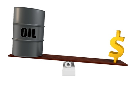 3d oil barrel and dollar in balance isolated on white photo