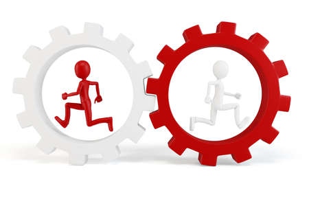 3d man running with red and white gears isolated on white Stock Photo - 9874337
