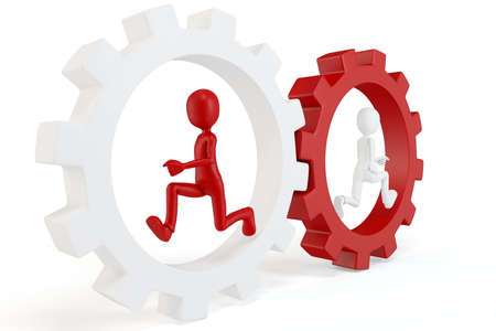 3d man running with red and white gears isolated on white Stock Photo - 9874339