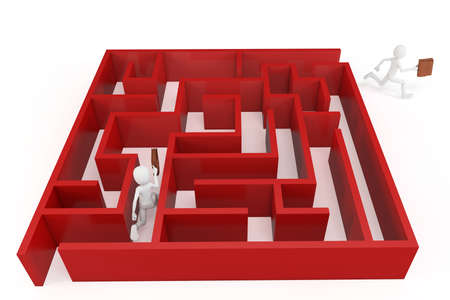trough: 3d man running trough a maze isolated on white Stock Photo