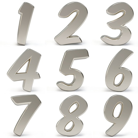 solid silver: 3d metal numbers isolated on white background Stock Photo