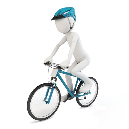 3d man riding a competition bike  isolated on white   photo