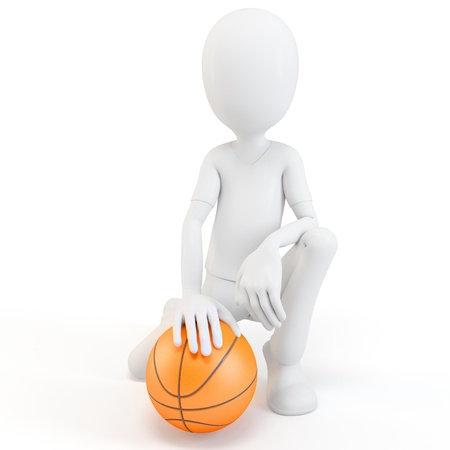 offensive: 3d man with basketball isolated on white Stock Photo