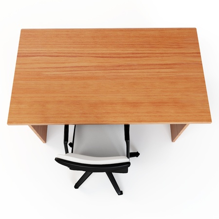 3d office desk with chair isolated on white
