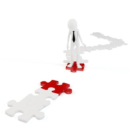 intentions: 3d man whit interrupted path of puzzle isolated on white