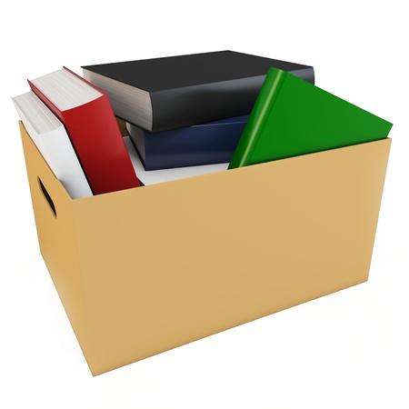 uitpakken: 3d doos met lege boeken geà ¯ soleerd op witte achtergrond