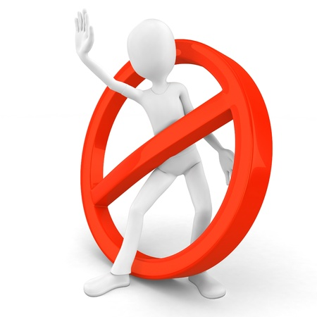negativity: 3d man stop sign on white background