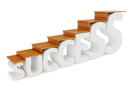 stair: 3d trap weg naar succes op wit wordt geïsoleerd Stockfoto