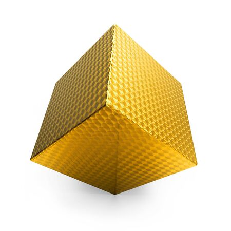 3d abstract swirled gold cube isolated on white photo