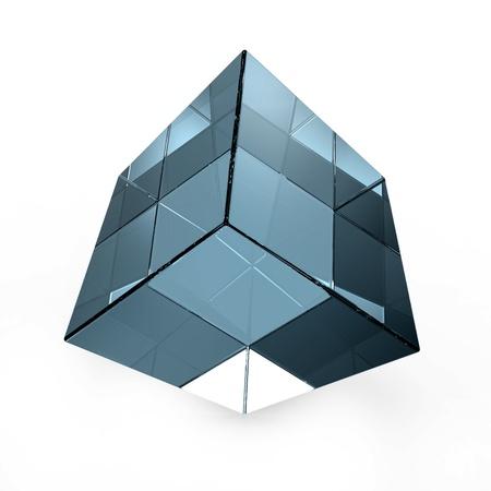 cubo: cubo de vidrio azul abstracto 3D aislado en blanco Foto de archivo