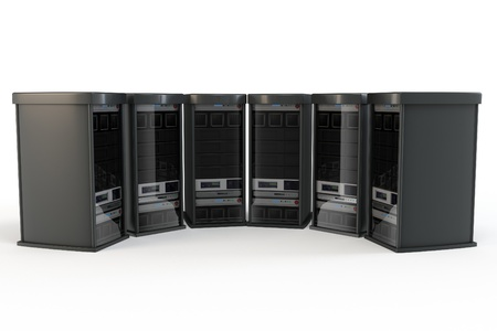 3d row of server racks isolated on white photo