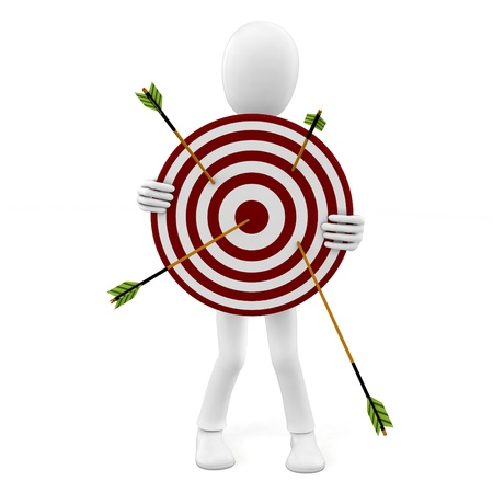 3d man with target and arrows isolated on white photo