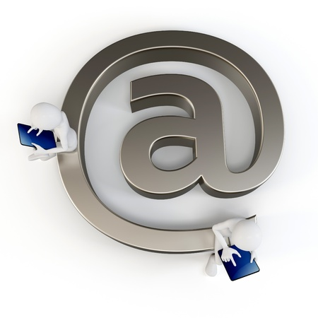 3d man sending email with a tabletpc on white background photo
