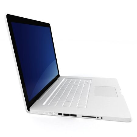 3d white laptop notebook on white background photo