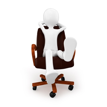 3d man relaxing in a chair on white background photo