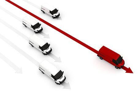 3d van best delivery leader concept on white background