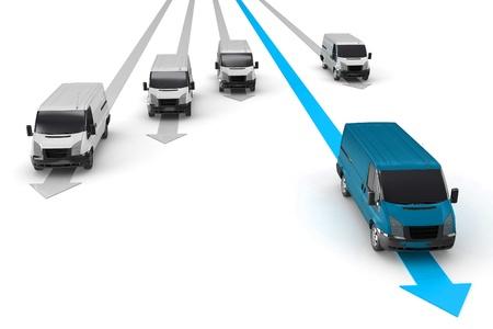 corriere: 3D van migliore consegna leader concetto su sfondo bianco