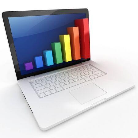 raises: 3d graph diagram bars with laptop on white background