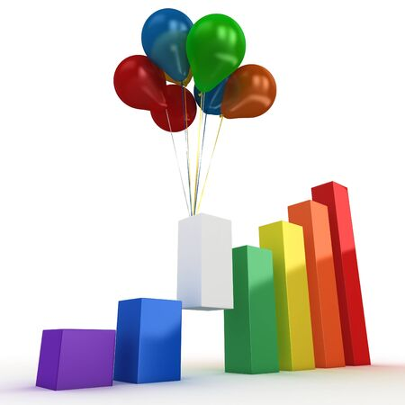 3d graph bars with colored balloons on white background photo