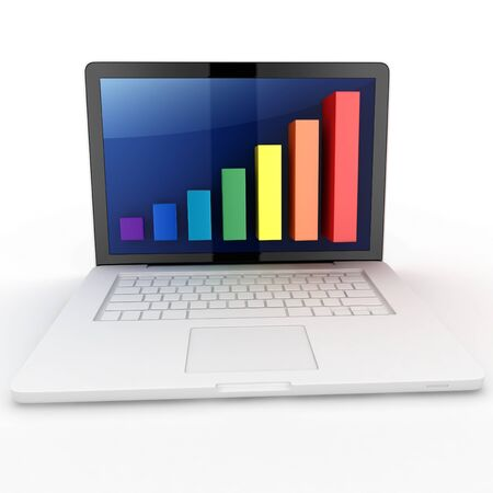 3d graph diagram bars with laptop on white background Stock Photo - 10360264