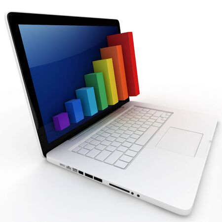 3d graph diagram bars with laptop on white background Stock Photo - 10360265