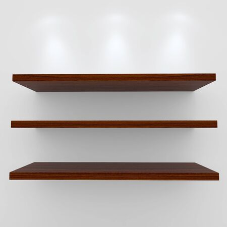 3d Empty wood shelves for exhibit isolated on white photo