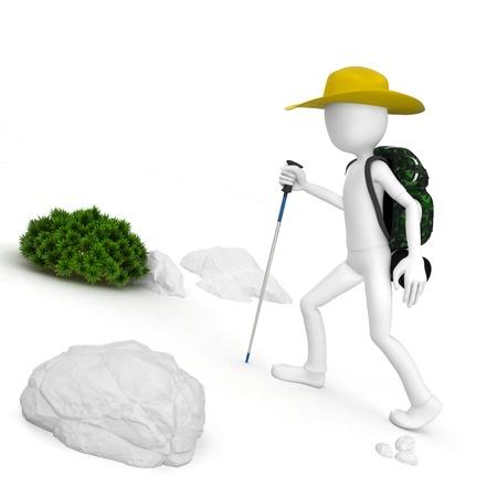 mountain climber: 3d man climber turistica di montagna con uno zaino su sfondo bianco