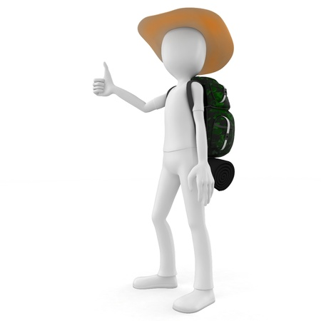 3d man hitcher tourist with a backpack on white background photo