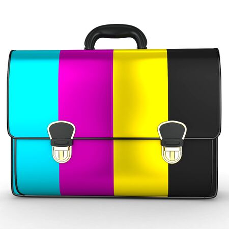 polygraph: 3d briefcase with cmyk ink on white background Stock Photo