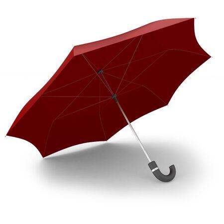 3d big red umbrella on white background Stock Photo - 10433362