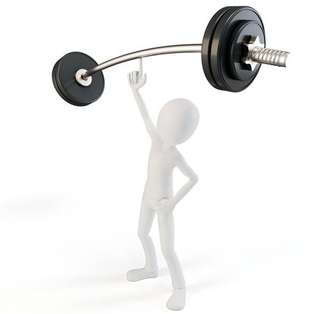 leverage: 3d hombre f�cil de levantar objetos pesados ??con barra en el fondo blanco Foto de archivo