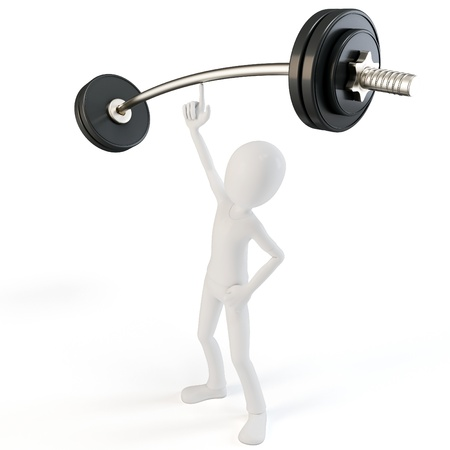 tough man: 3d man easy lifting heavy barbell on white background