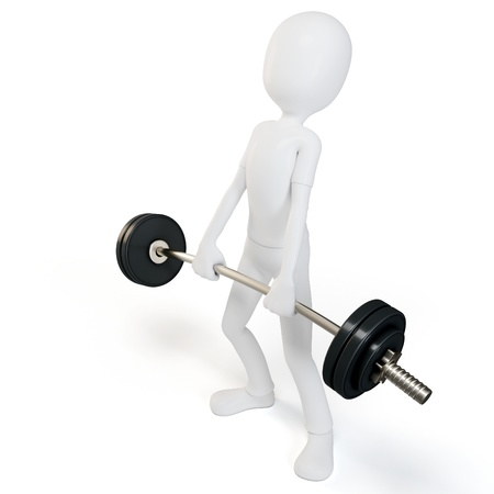 perseverance: 3d man easy lifting heavy barbell on white background